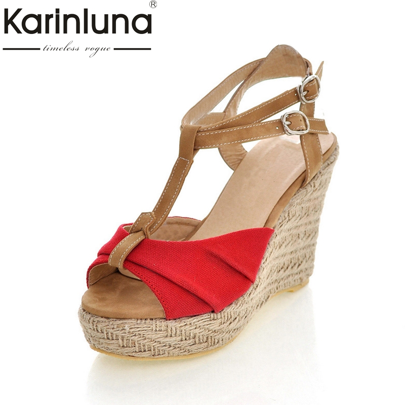 KarinLuna Wholesale Bohemia Style t-strap Women Shoes Summer Sandals Fashion Wedges High Heels Woman Shoes enmayer fashion summer shoes woman high heels wedges sansals women hook