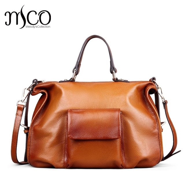 Women Genuine Leather Purses And Handbags Vintage Brown Large Shoulder Bag Las Tote Luxury Designer