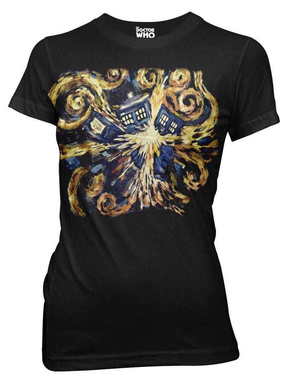 Doctor Who Van Gogh Explodierenden TARDIS Lizenzierte frauen Junior T-Shirts-Schwarz Marke Koreanische...