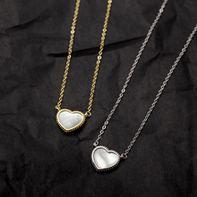Silvology 925 Sterling Silver White Shell Heart Necklace Elegant Minimalist French Female Pendant Fashionable Jewelry