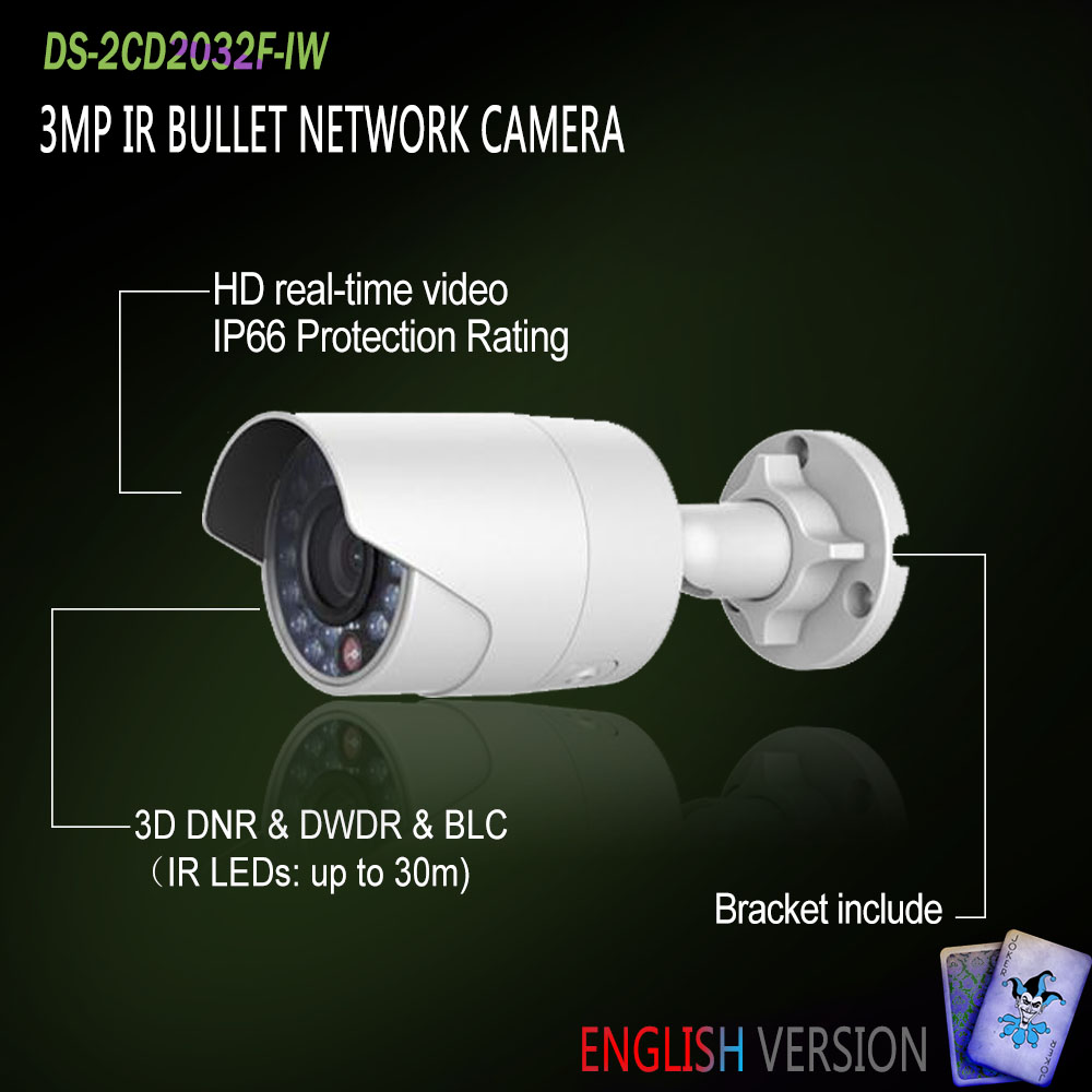 Hikvision In Stock DS-2CD2032F-IW English Version IP housing 3MP Bullet IR Camera POE security P2P Onvif H265 Mini White