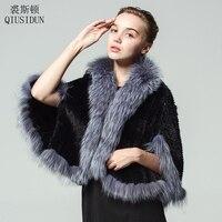 QIUSIDUN Genuine Mink Fur Coat Silver Fox Fur Collar Fur Coats For Women Fashion Winter Sleeveless Knitted Coat Women's Jacket