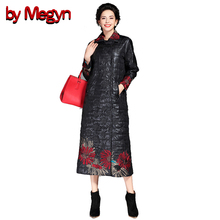 by Megyn 2017 Winter Women Warm Trench Overcoat Fashion Vintage Floral Embroidery Pattern Fashion Winter Coats  6A105