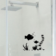 Lovely Fish Sea Plant Bubble Bathroom With Toilet Glass Sticker 2WS0041