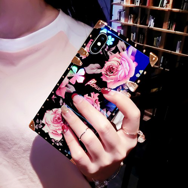 Fashion Blu-ray Camellia Rose Flower Square Metal Flower Back Cover For iphone X 6 6s 7 8 Plus XS MAX XR beautiful Phone Case