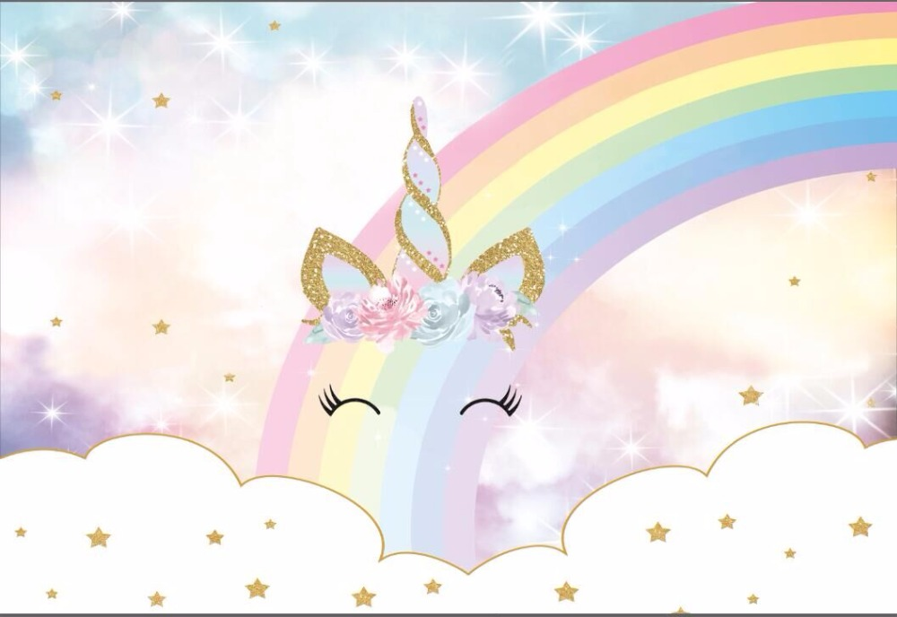 Sparkly Magical Girl Wallpaper 7x5ft Sparkle Rainbow Clouds Sky Gold Unicorn Horn Baby