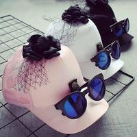 Retail Unisex Big Brim Mesh Baseball Hat Sunglasses Design Child Kid Adjustable Snapback Baseball Cap 2017
