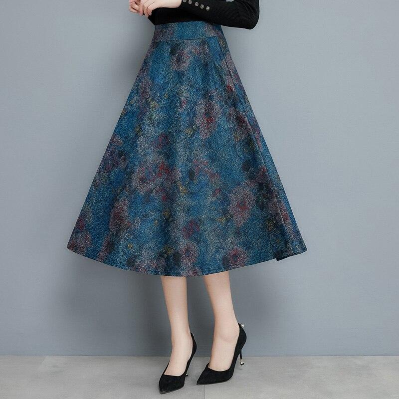 Blue High Waist Vintage Wool Ladies Skirt Long Winter 2019 Casual Plus Size Woolen Women Skirt Female