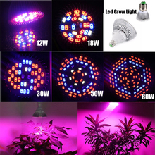 Led Grow Plant Lighting Full Spectrum E27 SMD Grow Light Lamp Bulb 12/18/30/50/80w for Hydroponics System Flower Vegetable Plant