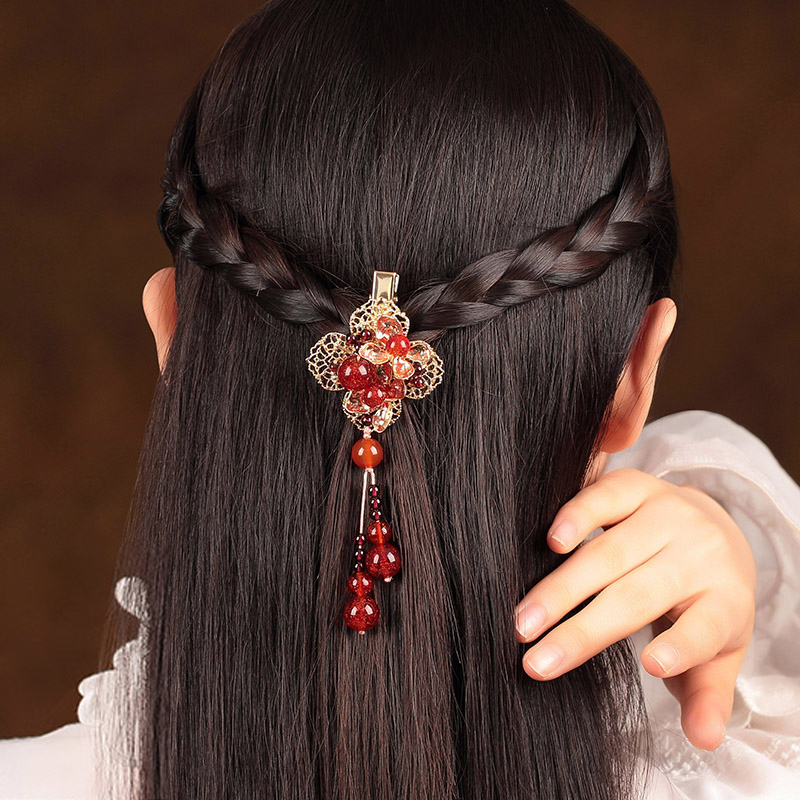 Handmade Fashion Jewelry Claws Natural Stone Hair Jewelry Metal Hair Clip For Women Girls Vintage Chinese style Accessories Hai цена