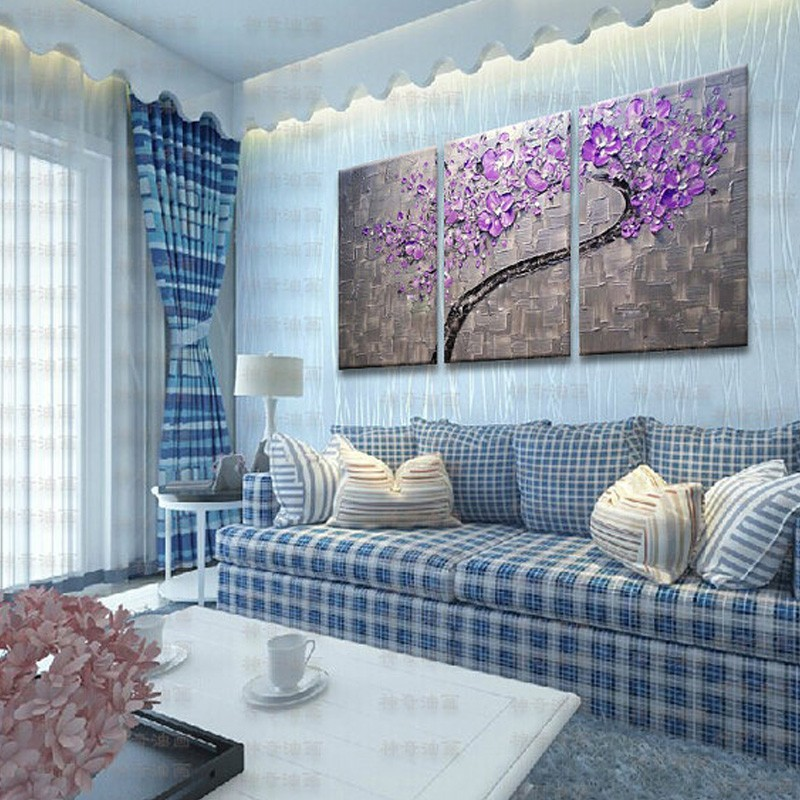 3 Panels Large Oil Painting Artist Supply Hand Painted Purple Flower Tree Knife Painting Gift