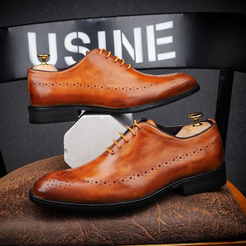 CIMIM Merk heren kleding schoenen echt lederen Hoge Kwaliteit Gesneden Brogue italiaanse schoenen mannen formele Zakelijke Wedding Schoenen Big Size-in Formele Schoenen van Schoenen op  Groep 1