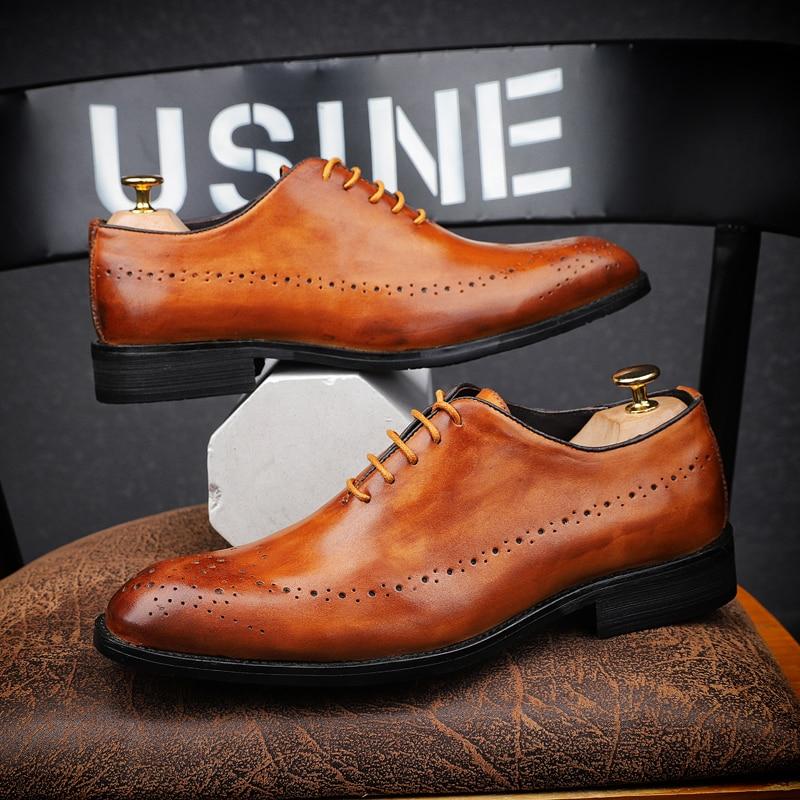 CIMIM marca hombres zapatos de vestir de cuero genuino de alta calidad tallado Brogue zapatos italianos hombres formal zapatos de boda de negocios de gran tamaño-in Zapatos formales from zapatos    1