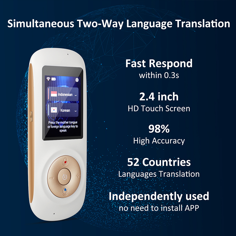 Portable Smart Voice WIFI Two Way Translator 2 4 inches Screen 40  Multilingual Speech Translator Multilingual Travel