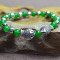 Green chrysoprase Bracelet jewelry beads 6mm vintage ancient silver fish bracelets for women 0720