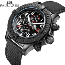 Men Automatic Self Wind Mechanical Canvas Style Genuine Black Blue Leather Multifunction Date Month