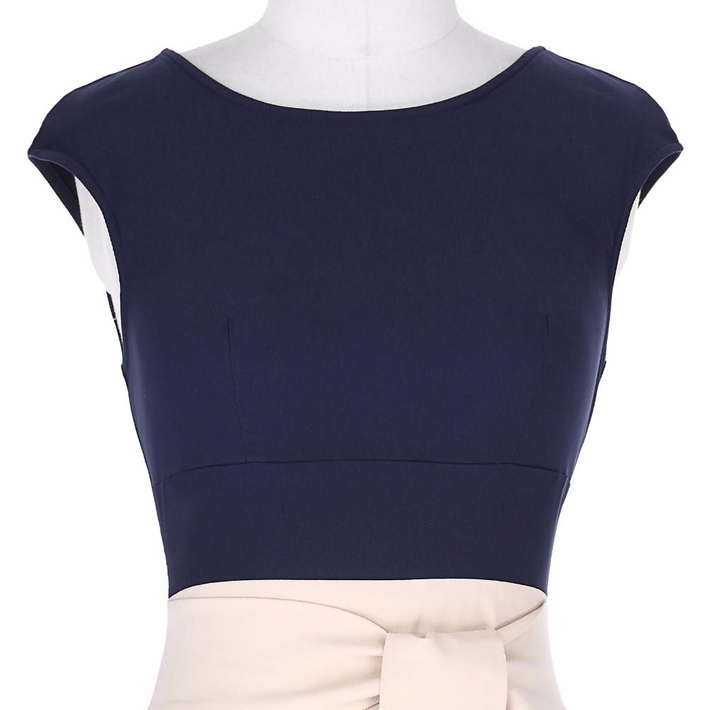 Retro Vintage Sleeveless Crew Neck 2017 Sexy Hollowed Back Cotton Navy Blue Party Dresses Vestidos Casual Office Bodycon Dress 10