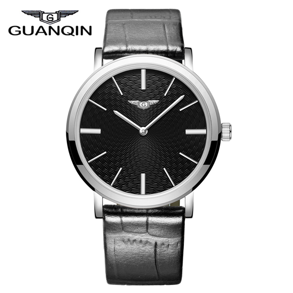 ФОТО GUANQIN GS19026 Mens Watches Top Brand Luxury Fashion Casual Ultra Thin Watch Simple Men Leather Wristwatch relogio masculino