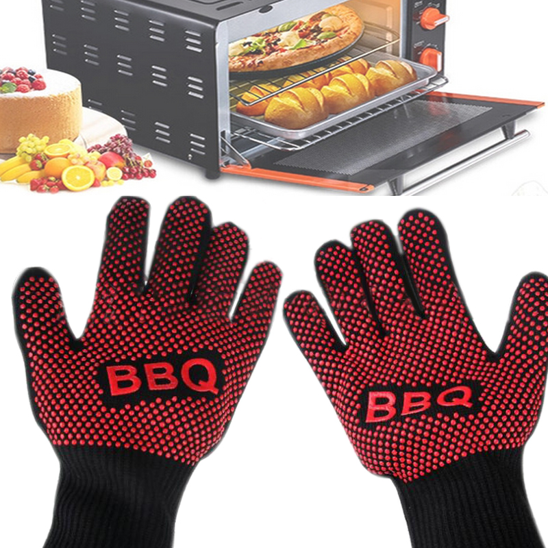 Safety Glove L 35cm 350 Degree High Temperature Microwave Oven BBQ Insulation Anti-scalding Cut Resistant Protection Gloves цена