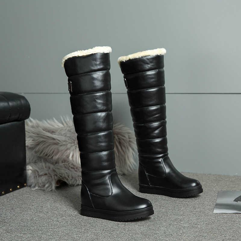 Русские зимние сапоги; женские теплые сапоги до колена с круглым носком; женские модные зимние сапоги до бедра на меху; водонепроницаемая обувь; botas; n318