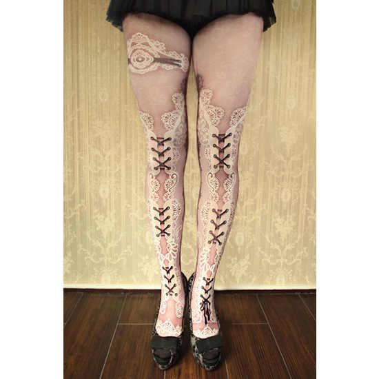 Shinjuku keren gadis gaya gothic punk rocker hitam putih renda cetak lolita wanita girl silk stocking 120D tights pantyhouse