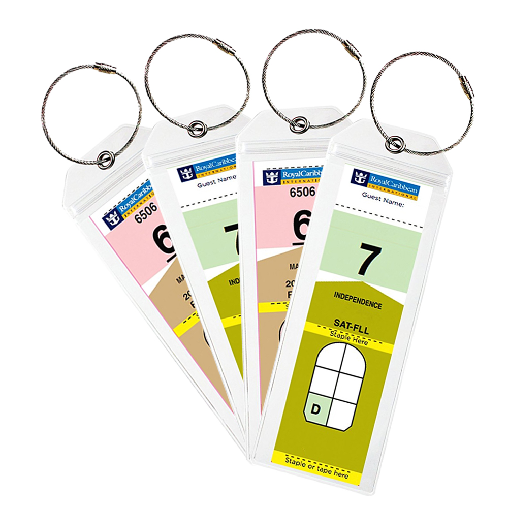 Cruise Tags Luggage Tag Holders For Royal Caribbean & Celebrity Cruise Ship With Zip Seal & Steel Loops Thick PVC