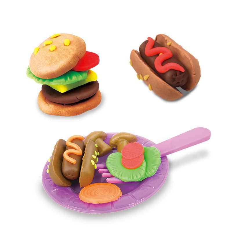 3D безопасный Пластилин Playdough барбекю Кук набор с формы 5 цветов тесто дети ролевые игры игрушечное барбекю обучения и образования игрушечные лошадки