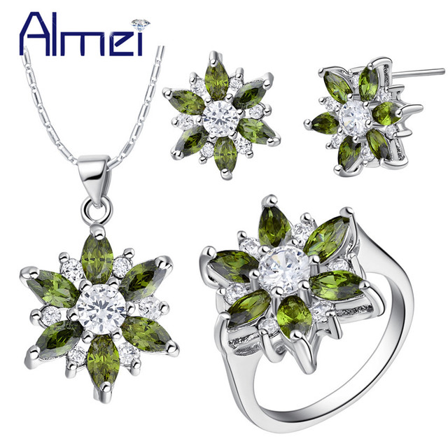 Almei Rhinestone Wedding Jewelry Sets Women Bridal Jewellery Silver Color Crystal Earring Necklace Pendant Ring Party Set T508