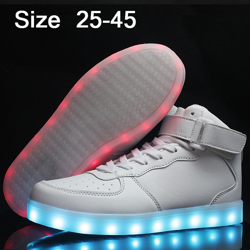 USB Luminous Sneakers Baskets Femme Led Shoes with Light Up Sole Kids Boys Glowing Sneakers Chaussure Enfant LED Slippers 32