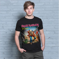 New Arrival Mens T Shirt Asian Size M 4XL T Shirt Iron Maiden The Trooper Rock