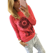 Hot Sale Women Casual Long Sleeve T-Shirt Feather Printed Ladies Casual T Shirt Tops Camisetas Mujer Plus Size 2016