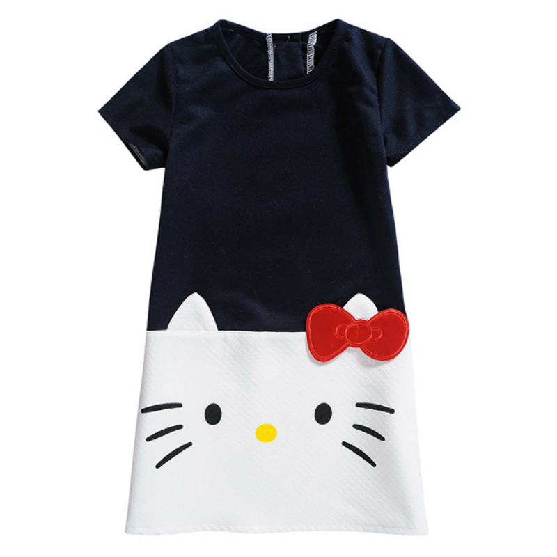 2018 Summer Girl Dress Children Clothing Hello Kitty Printed Princess Dress Kids Baby Gilr Clothes Cotton Casual Dresses hurave 2018 summer clothing sleeveless baby girl clothes children dress plaid cotton kids clothes casual drawstring dresses