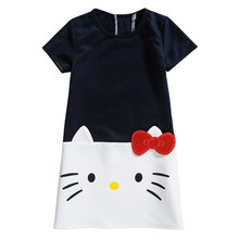 6e0ad4a38 2018 Summer Girl Dress Children Clothing Hello Kitty Printed Princess Dress  Kids Baby Gilr Clothes Cotton Casual Dresses