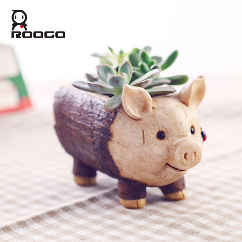 Roogo Creative Pig Design Flowerpot Resin Wood Flower Pots Micro Landscape Ornaments Planter for Home Indoor-in Flower Pots & Planters from Home & Garden