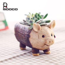 Roogo Creative Pig Design Flowerpot Resin Wood Flower Pots Micro Landscape Ornaments Planter for Home Indoor