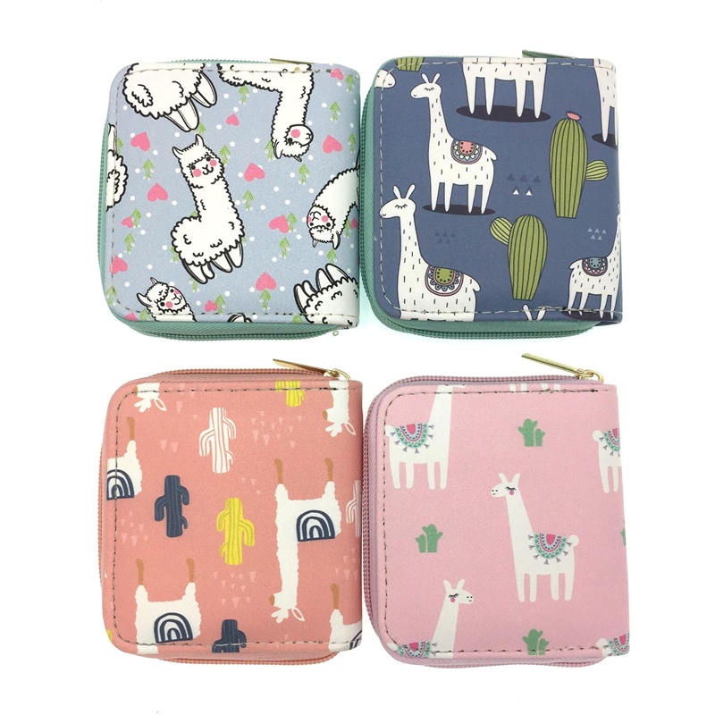 Fashion Alpaca Lady Mini Zipper Wallets Small Money Purses Bags Female Coin Purse Card Holder for Women Lady Short Wallet genuine leather coin purses women small change money bags pocket wallets female key chain holder case mini pouch card men wallet