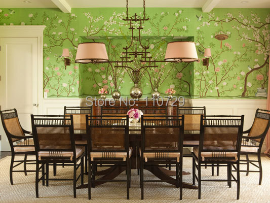 Chinoiserie Trendy Ornaments Europe style Handpainted wallpaper painting flowers  with birds wallcovering many pictures optional handpainted birds and leaf branch printed pillow case