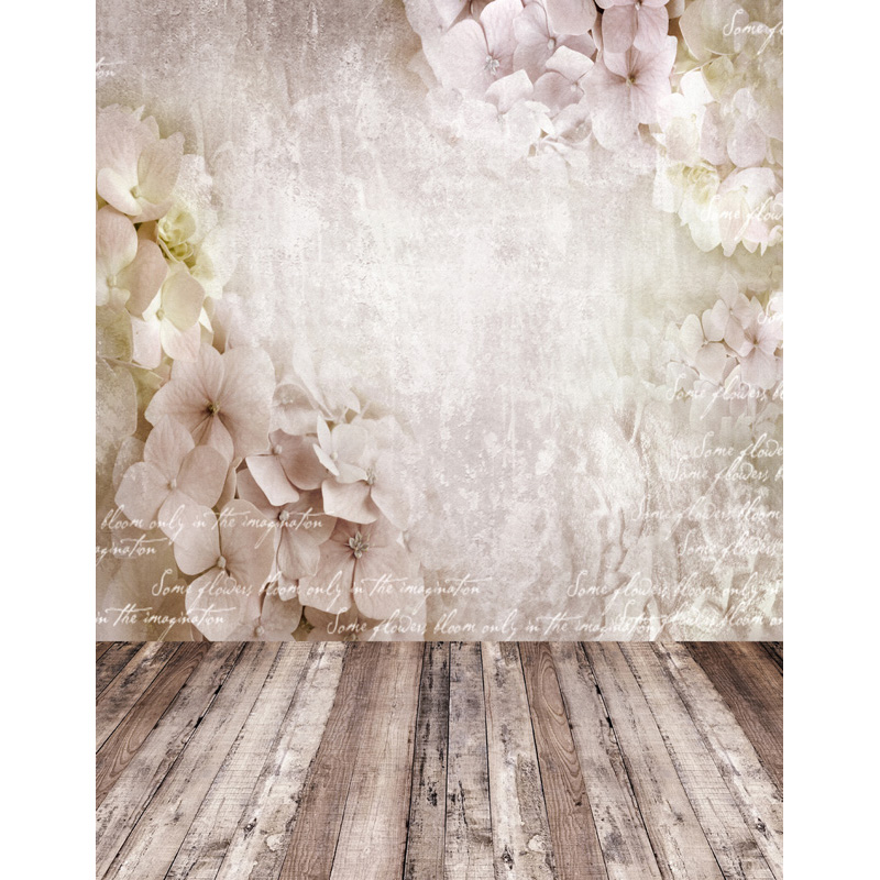 250x450cm Vinyl flowers wall wooden floor photography background backdrop for children wedding photo studio