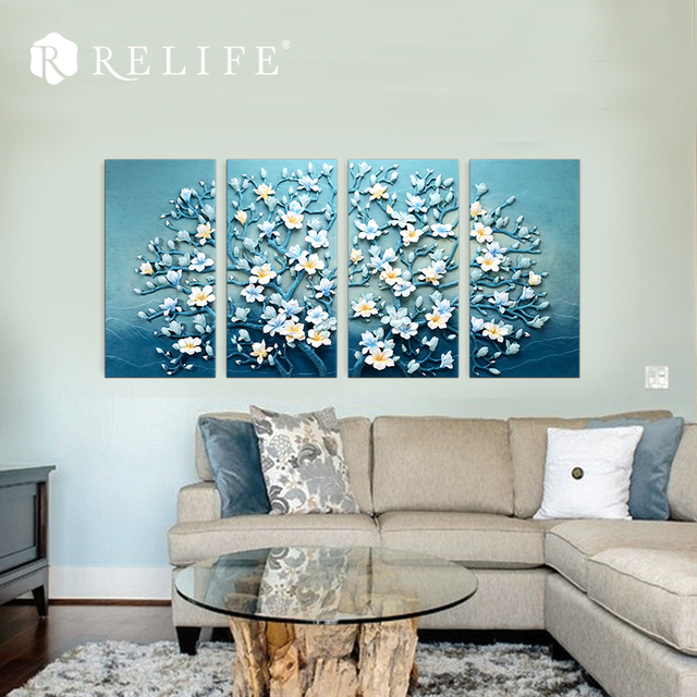 4 Panel Combined Magnolia Tree Blooming Paintings Home Decorative Wall Pictures for Living Room