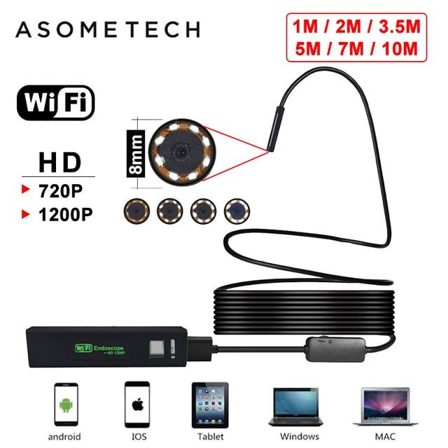 Harte Kabel WIFI Endoskop Mini Wasserdichte Kamera 8MM 8 LED Wireless USB Endoskop Endoskop Für Android PC IOS Iphone endoskop