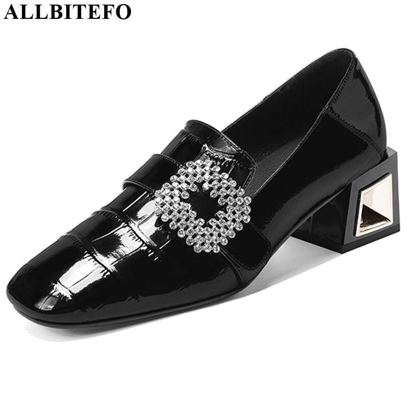 ALLBITEFO Rhinestone Pumps Genuine Leather Sexy High Heel Shoes Fashion Ladies Women Heels Spring Autumn Girl High Heels