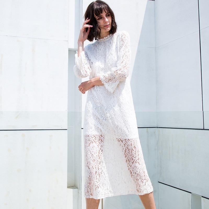 2018 Flare Sleeve White Lace Dress Women Autumn Female Hollow Midi Shirt Dresses Casual Elegant Party Sheer Vestidos Plus Size