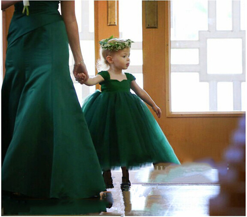 Ball Gown Flower Girls Dresses for Wedding Tulle Holy Communion Dresses Green Mother Daughter Dresses Long First Communion Dress