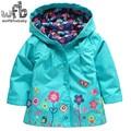 Retail 2-6 years coat full-sleeves Lovely flowers Windproof rainproof raincoat kids children spring autumn fall