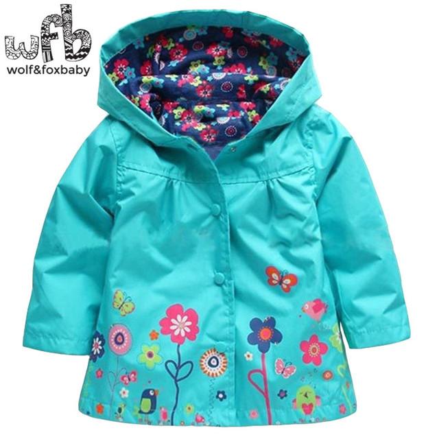 Venta al por menor 2-6 años abrigo mangas llenas Hermosas flores a prueba de Viento impermeable gabardina niños primavera otoño otoño