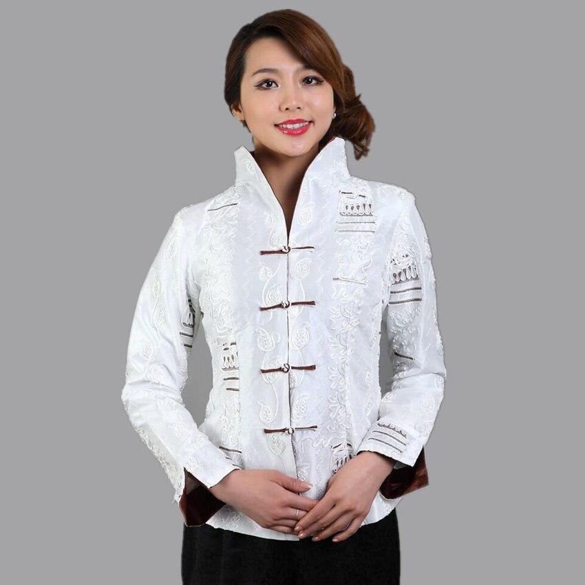 Alta calidad blanca para mujer de satén de seda bordado Chaqueta manga larga flo
