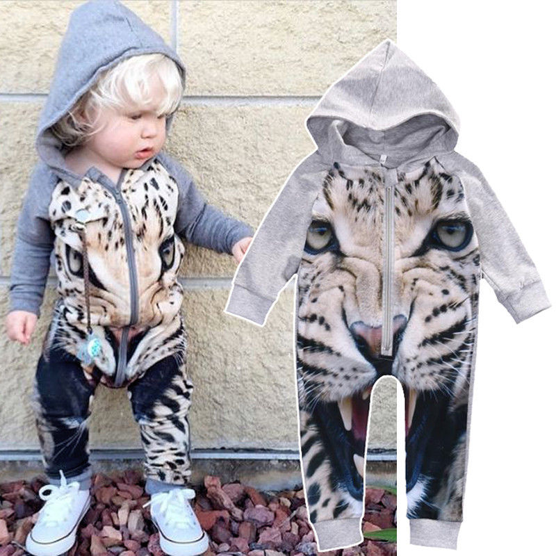 Baby Boy Girl Clothes Romper Long Sleeve Jumpsuit Cute Tiger Animals Playsuit Newborn Toddler Outfits puseky 2017 infant romper baby boys girls jumpsuit newborn bebe clothing hooded toddler baby clothes cute panda romper costumes