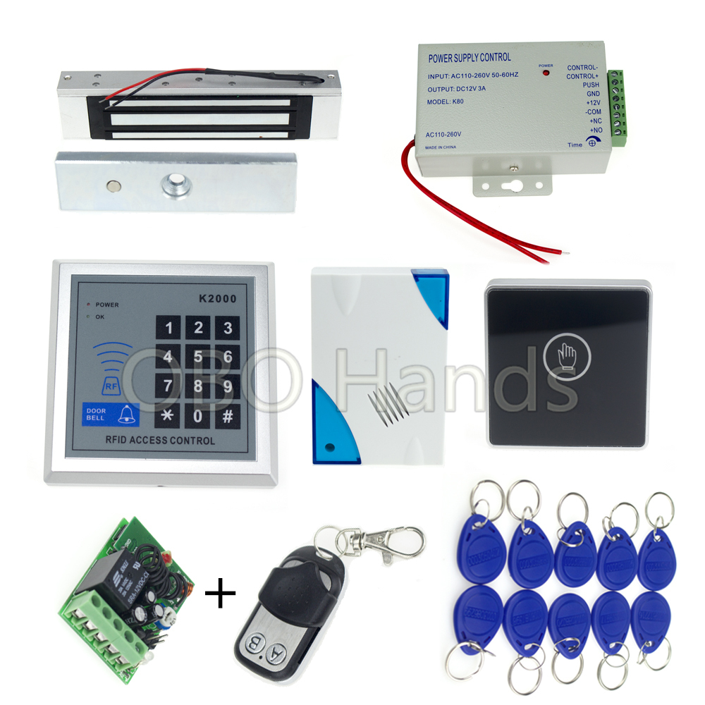 Electronic magnetic lock access control system+power supply+rfid keyfobs+door bell+touch exit button+remote control стоимость
