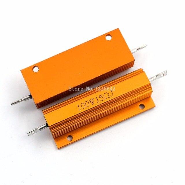RX24 100 Вт 15R 15rj металла В виде ракушки из алюминия золото резистор высокое Мощность радиатора сопротивление Золотой теплоотвод резистор 100 ватт 15 Ом