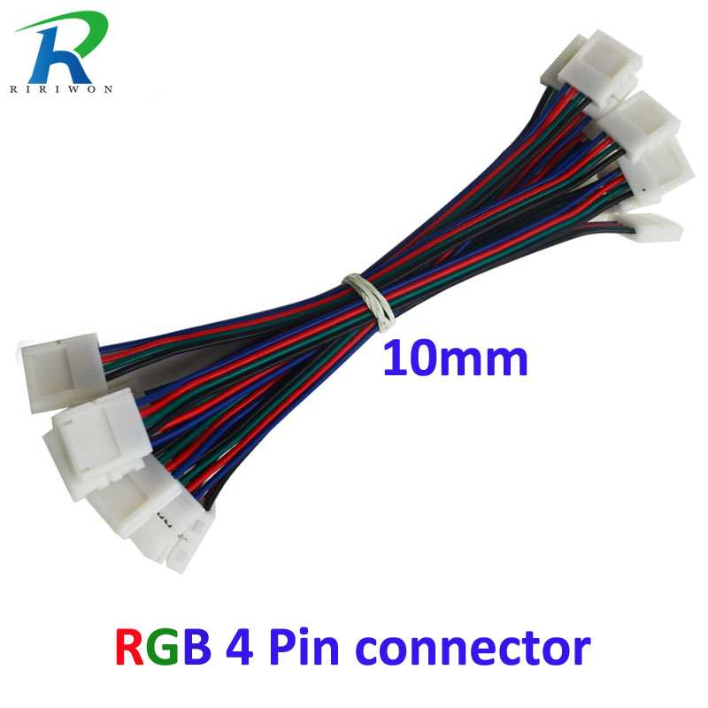 10pcs  4pin RGB Led Strip No Soldering Double Connector Clip Cable Led Tape Extension Wire For 5050 RGB Strip light 50pcs 3528 led strip connector clip 8mm 2 pin mark polarity no soldering pcb connector clip free shipping